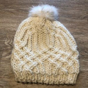 Knitted White Beanie (winter hat)